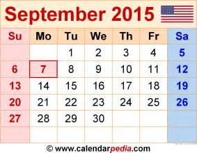 September Month Calendar 2015