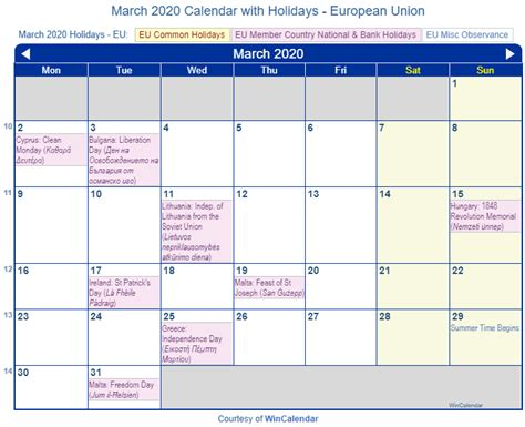print friendly march eu calendar printing