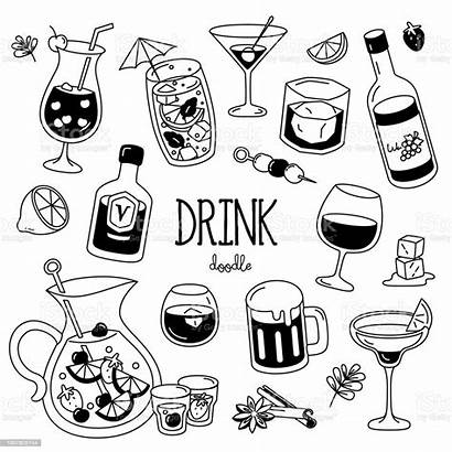 Drink Cocktail Drawing Doodle Vector Styles Hand
