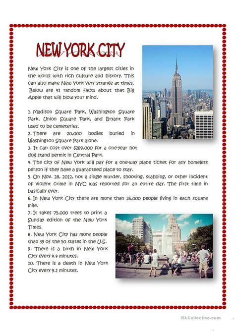 york city facts worksheet  esl printable