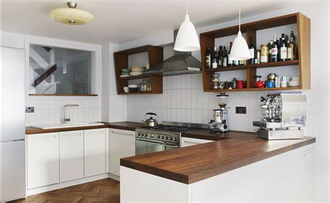 Küche Dunkles Holz by Modern Kitchen With White Cabinets And Wooden Worktop
