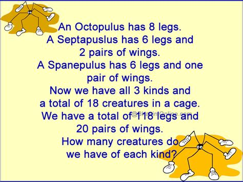 Halloween Riddles And Answers by Fun Math Riddle How Many Creatures Of Each Kind