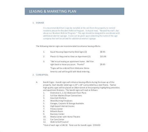 rental marketing plan templates   premium