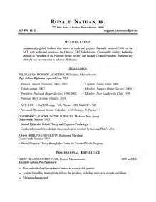 job resume templates for high students job resume exles for college students learnhowtoloseweight net