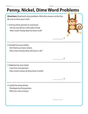 1st grade math worksheet addition word problems nickel dime word problems worksheet education