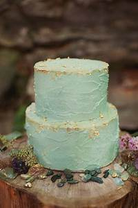 Cake Love A Turquoise Wedding Cake Dusted With Gold Leaf