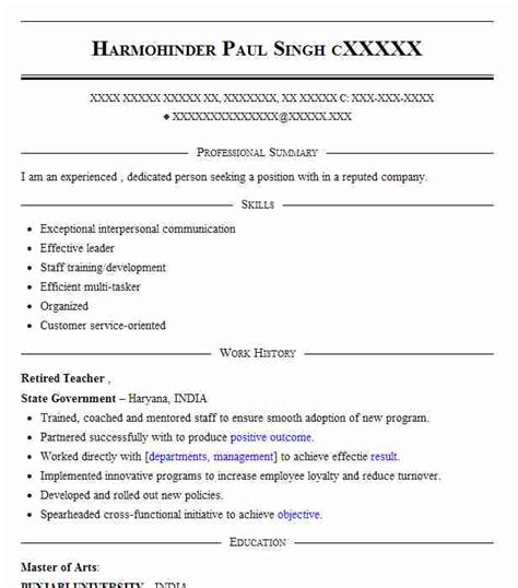 Retired Resume by Retired Resume Sle Resumes Livecareer