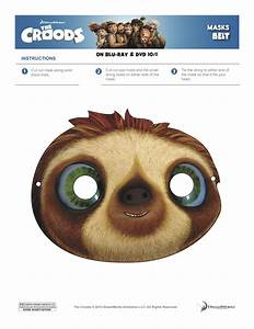 the croods coloring sheets games a mom39s take With sloth mask template