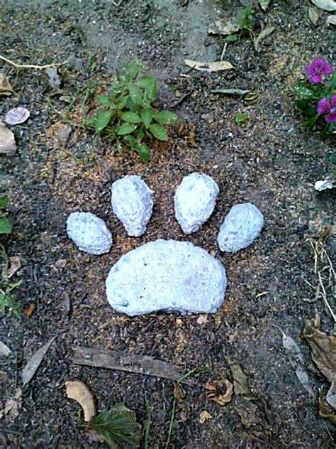 stepping paw print pet memorial concrete