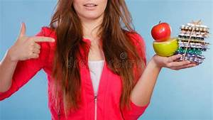 Woman Holding Pills And Fruits. Health Care Stock Image ...