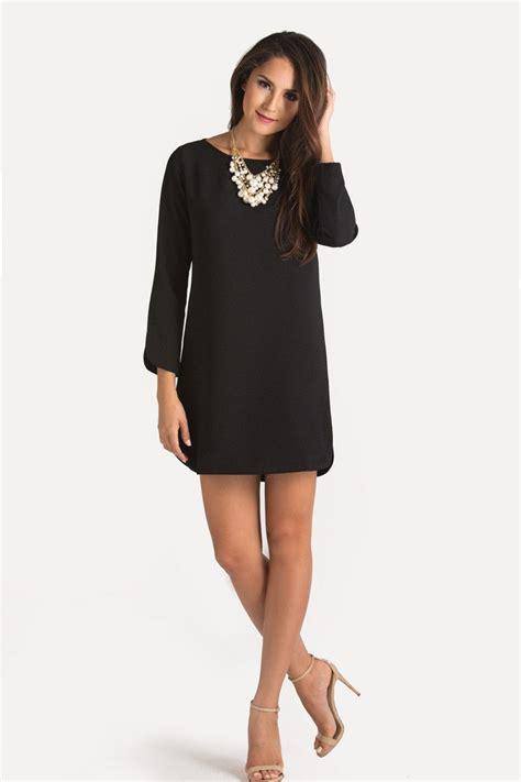 christina black long sleeve shift dress  women