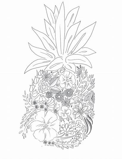 Coloring Pages Adult Printable Stress Pineapple Floral