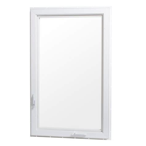 tafco windows       hand vinyl casement window  screen white vc