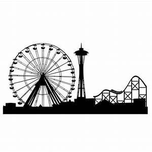 Ferris Wheel Roller Coaster and Space Needle Wall Graphics ...