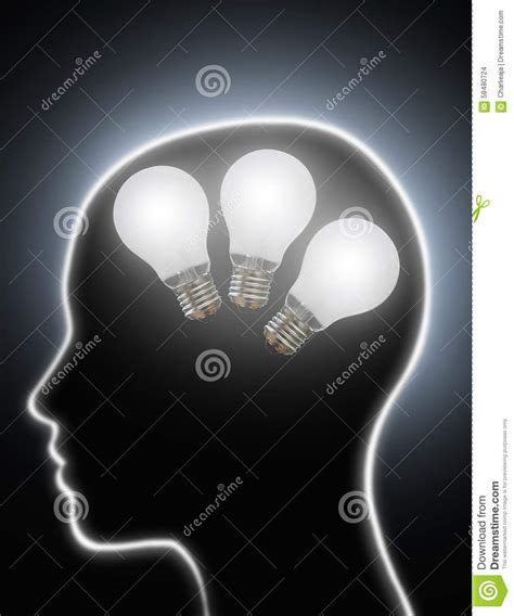the power of light human brain power creativity light bulbs stock photo