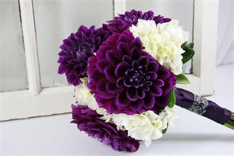 Dahlia Purple Hydgrangea Wedding Bouquet Lavender And