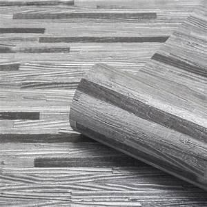 Milana Charcoal Wood Grain Panel Wallpaper