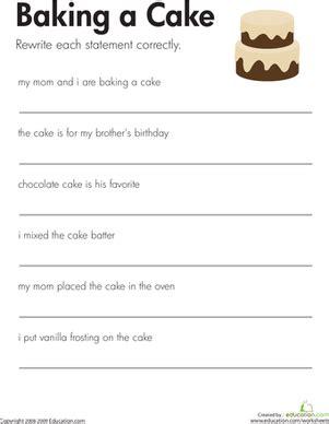 fix the sentences baking a cake facs