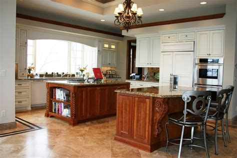 Large Kitchen With Two Islands  Traditional  Kitchen