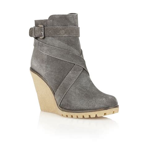 zip side ankle boots buy ravel alaska wedge ankle boots in grey suede