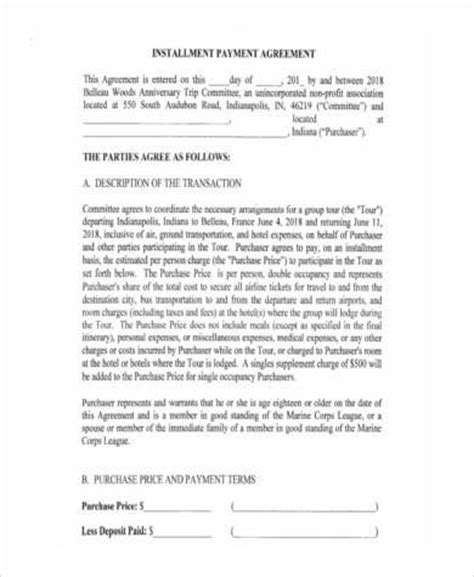 sample installment agreement forms   ms word