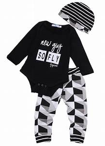 Online Cheap Fashion Baby Boy Girl Sets Kids Newborn Infant New Guy So Fly Funny Letter Printed ...