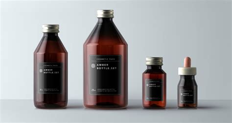 amber bottles cosmetic packaging psd mock  templates