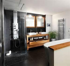 Superbe meuble sous vasque bois exotique 1 salle de for Salle de bain design avec décoration de table exotique