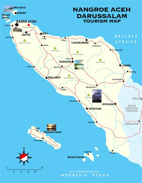 nangroe aceh darussalam tourist map banda aceh mappery