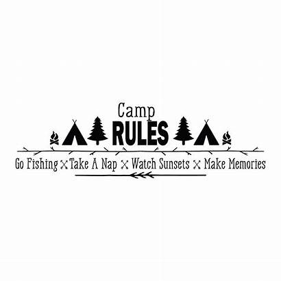 Wall Quotes Camp Rules Decal Memories Fishing