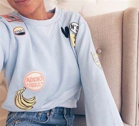 Shirt patch sweater blue fashion food girl style aesthetic tumblr sweatshirt blue ...