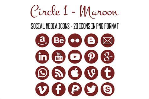 social media icons maroon icons creative market