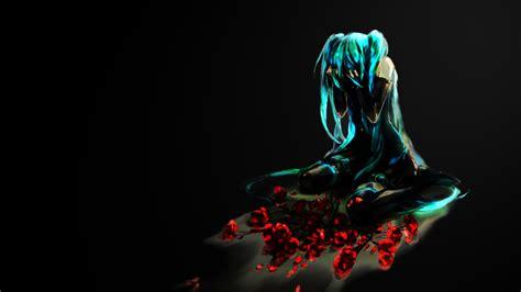 fond decran hd hatsune miku rose triste turquoise