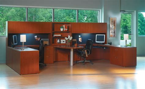 two person peninsula desk the office leader transitional lamimate mayline aberdeen