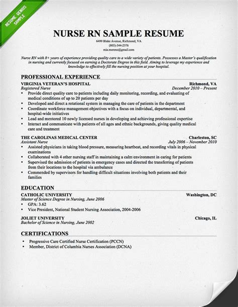 Resume For Nursing nursing resume sle writing guide resume genius