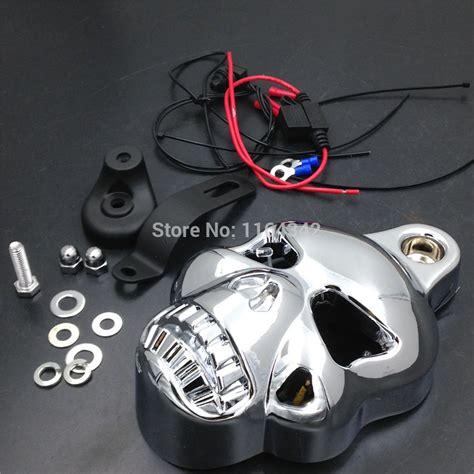 aliexpress buy motorcycle parts chrome led skull carburetor horn cover for harley davidson
