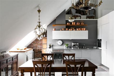 Elegant interior desing in an attic apartment