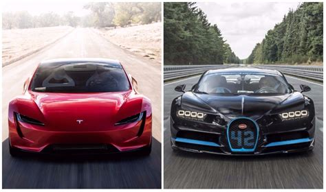 Tesla Vs by Tesla Roadster Vs Bugatti Chiron This Image Clearly