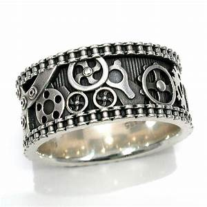 Mens bike chain gear ring steampunk sterling silver for Mens gear wedding ring