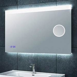Spiegel Mit Uhr : badezimmerspiegel mit schminkspiegel und uhr 100x60 cm spiegel badspiegel ebay ~ Orissabook.com Haus und Dekorationen