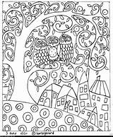 Primitive Folk Hooking Rug Karla Gerard Pattern Coloring Pages Floral sketch template