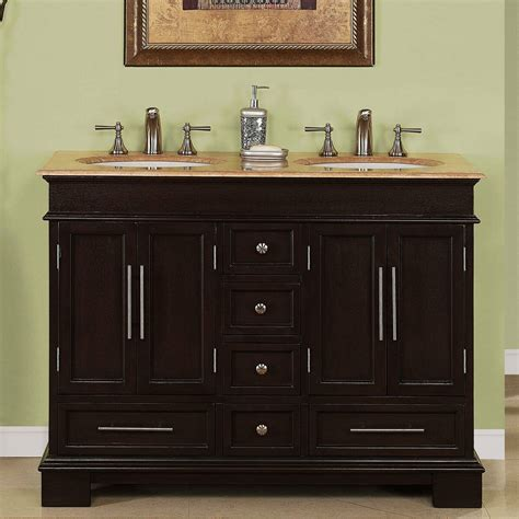 Two Vanities In Bathroom - 48 inch compact sink travertine top bathroom