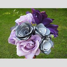 Purple & Grey Bridal Bouquet Wedding Silk And Paper Flower