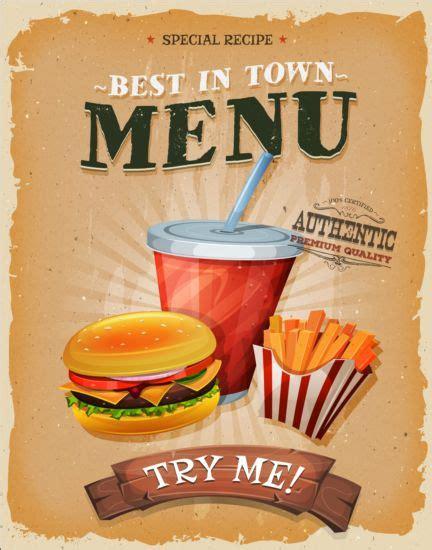 affiche vintage cuisine best food vintage poster vector vector cover vector