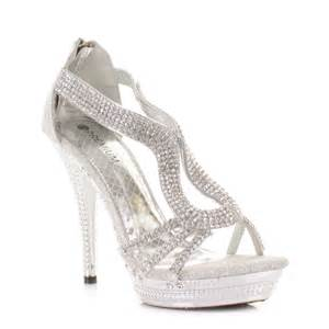 Silver Strappy High Heel Shoes