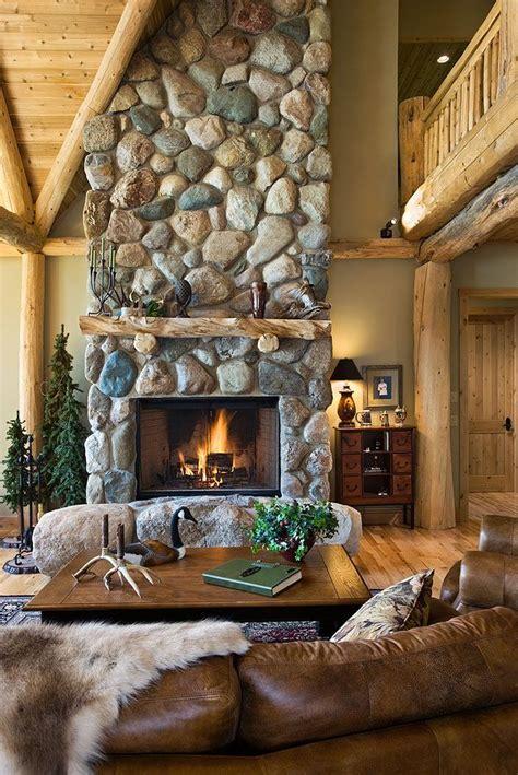river rock fireplace log mantle log cabin ideas log