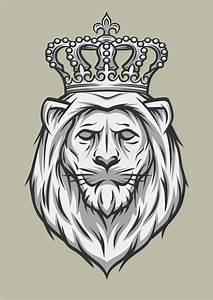 The Head Of A Lion With A Crown. Stock Vector - Image ...