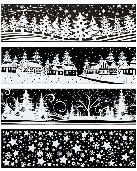Weihnachtsdeko Fenstersticker by Fensterbild Auswahl Schneeflocken Sterne Dorf Wald