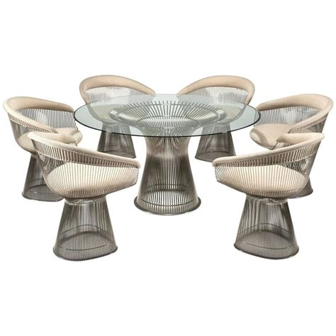 platner dining table and six chairs by warren platner for