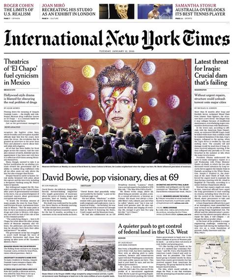 David Bowie death dominates newspaper front pages | News ...